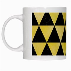 Triangle3 Black Marble & Yellow Watercolor White Mugs