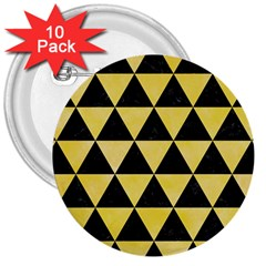 Triangle3 Black Marble & Yellow Watercolor 3  Buttons (10 Pack)
