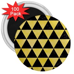 Triangle3 Black Marble & Yellow Watercolor 3  Magnets (100 Pack)