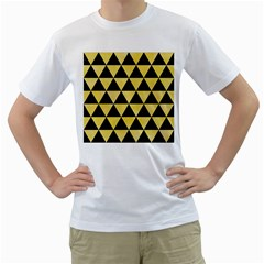 Triangle3 Black Marble & Yellow Watercolor Men s T Shirt (white) (two Sided)