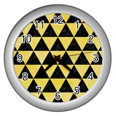 Triangle3 Black Marble & Yellow Watercolor Wall Clocks (silver)