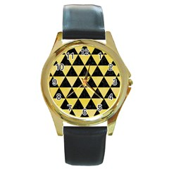 Triangle3 Black Marble & Yellow Watercolor Round Gold Metal Watch