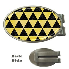 Triangle3 Black Marble & Yellow Watercolor Money Clips (oval)