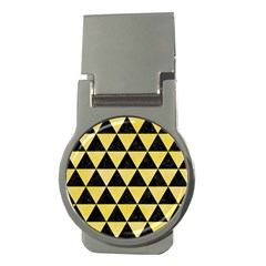 Triangle3 Black Marble & Yellow Watercolor Money Clips (round)