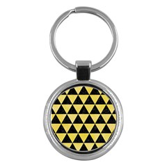 Triangle3 Black Marble & Yellow Watercolor Key Chains (round)