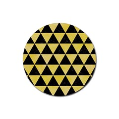 Triangle3 Black Marble & Yellow Watercolor Rubber Round Coaster (4 Pack)