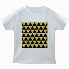 Triangle3 Black Marble & Yellow Watercolor Kids White T Shirts