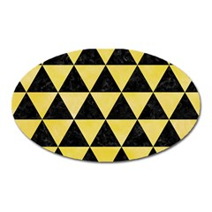Triangle3 Black Marble & Yellow Watercolor Oval Magnet