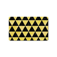 Triangle3 Black Marble & Yellow Watercolor Magnet (name Card)