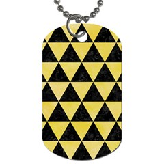 Triangle3 Black Marble & Yellow Watercolor Dog Tag (two Sides)