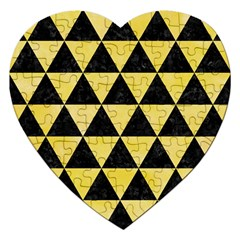 Triangle3 Black Marble & Yellow Watercolor Jigsaw Puzzle (heart)