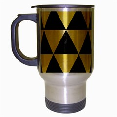 Triangle3 Black Marble & Yellow Watercolor Travel Mug (silver Gray)