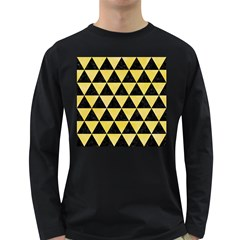 Triangle3 Black Marble & Yellow Watercolor Long Sleeve Dark T Shirts
