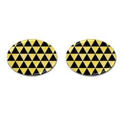 Triangle3 Black Marble & Yellow Watercolor Cufflinks (oval)