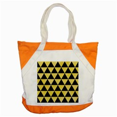 Triangle3 Black Marble & Yellow Watercolor Accent Tote Bag