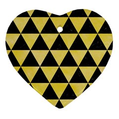 Triangle3 Black Marble & Yellow Watercolor Heart Ornament (two Sides)