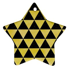 Triangle3 Black Marble & Yellow Watercolor Star Ornament (two Sides)