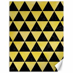 Triangle3 Black Marble & Yellow Watercolor Canvas 12  X 16