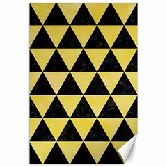 Triangle3 Black Marble & Yellow Watercolor Canvas 24  X 36