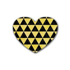 Triangle3 Black Marble & Yellow Watercolor Rubber Coaster (heart)