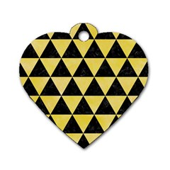 Triangle3 Black Marble & Yellow Watercolor Dog Tag Heart (one Side)