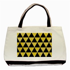 Triangle3 Black Marble & Yellow Watercolor Basic Tote Bag (two Sides)