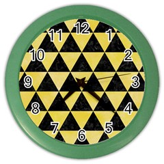 Triangle3 Black Marble & Yellow Watercolor Color Wall Clocks