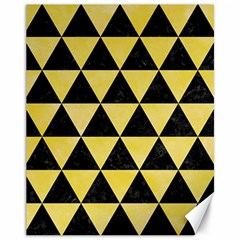 Triangle3 Black Marble & Yellow Watercolor Canvas 11  X 14