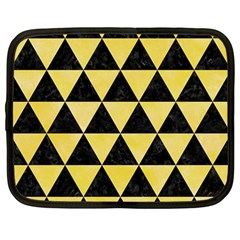 Triangle3 Black Marble & Yellow Watercolor Netbook Case (large)
