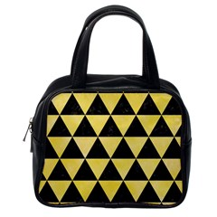 Triangle3 Black Marble & Yellow Watercolor Classic Handbags (one Side)