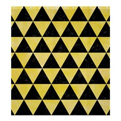 Triangle3 Black Marble & Yellow Watercolor Shower Curtain 66  X 72  (large)