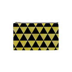 Triangle3 Black Marble & Yellow Watercolor Cosmetic Bag (small)
