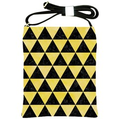 Triangle3 Black Marble & Yellow Watercolor Shoulder Sling Bags