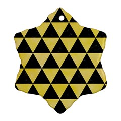 Triangle3 Black Marble & Yellow Watercolor Snowflake Ornament (two Sides)