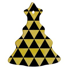 Triangle3 Black Marble & Yellow Watercolor Christmas Tree Ornament (two Sides)