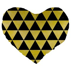 Triangle3 Black Marble & Yellow Watercolor Large 19  Premium Heart Shape Cushions