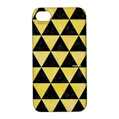 Triangle3 Black Marble & Yellow Watercolor Apple Iphone 4/4s Hardshell Case With Stand