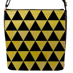 Triangle3 Black Marble & Yellow Watercolor Flap Messenger Bag (s)