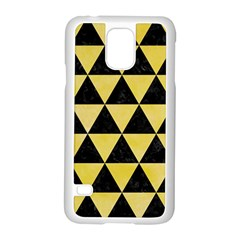 Triangle3 Black Marble & Yellow Watercolor Samsung Galaxy S5 Case (white)