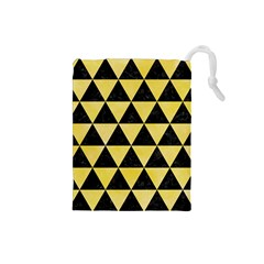 Triangle3 Black Marble & Yellow Watercolor Drawstring Pouches (small)