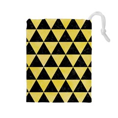Triangle3 Black Marble & Yellow Watercolor Drawstring Pouches (large)