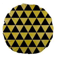 Triangle3 Black Marble & Yellow Watercolor Large 18  Premium Flano Round Cushions