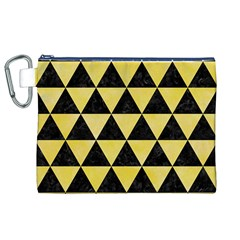 Triangle3 Black Marble & Yellow Watercolor Canvas Cosmetic Bag (xl)