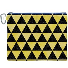 Triangle3 Black Marble & Yellow Watercolor Canvas Cosmetic Bag (xxxl)