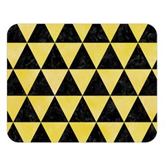 Triangle3 Black Marble & Yellow Watercolor Double Sided Flano Blanket (large)