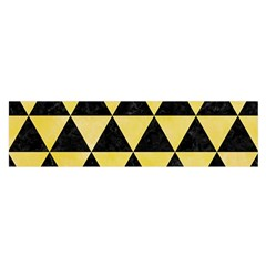 Triangle3 Black Marble & Yellow Watercolor Satin Scarf (oblong)
