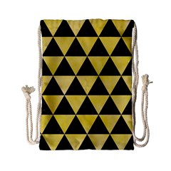 Triangle3 Black Marble & Yellow Watercolor Drawstring Bag (small)