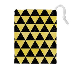 Triangle3 Black Marble & Yellow Watercolor Drawstring Pouches (extra Large)