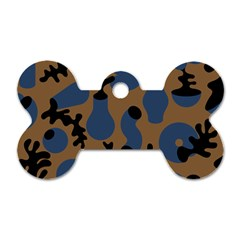 Superfiction Object Blue Black Brown Pattern Dog Tag Bone (two Sides)