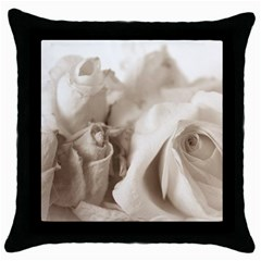 Vintage Rose Shabby Chic Background Throw Pillow Case (black)